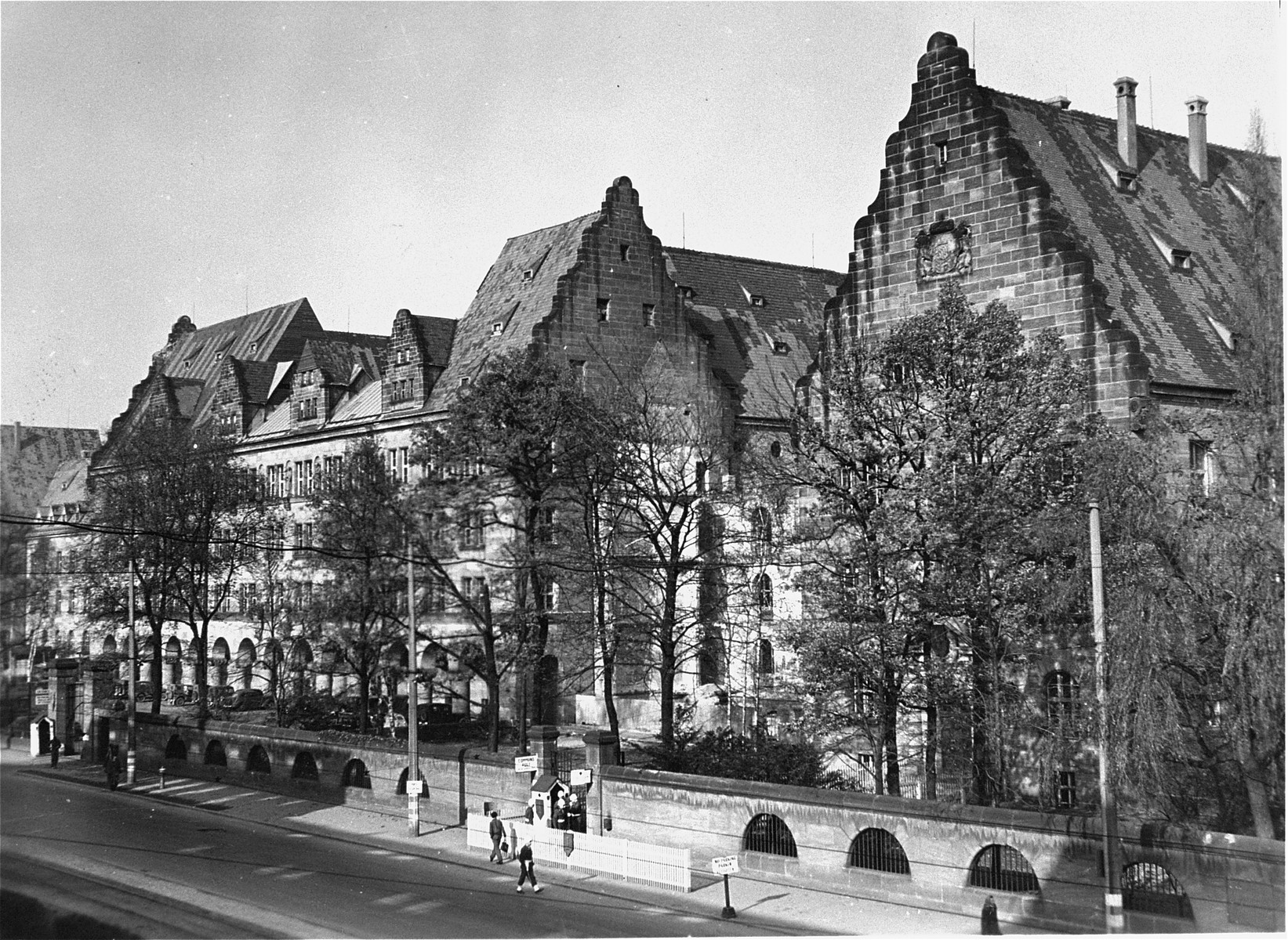 View of the Palace of Justice in Nuremberg, where the International Military Tribunal trial of war criminals was held.