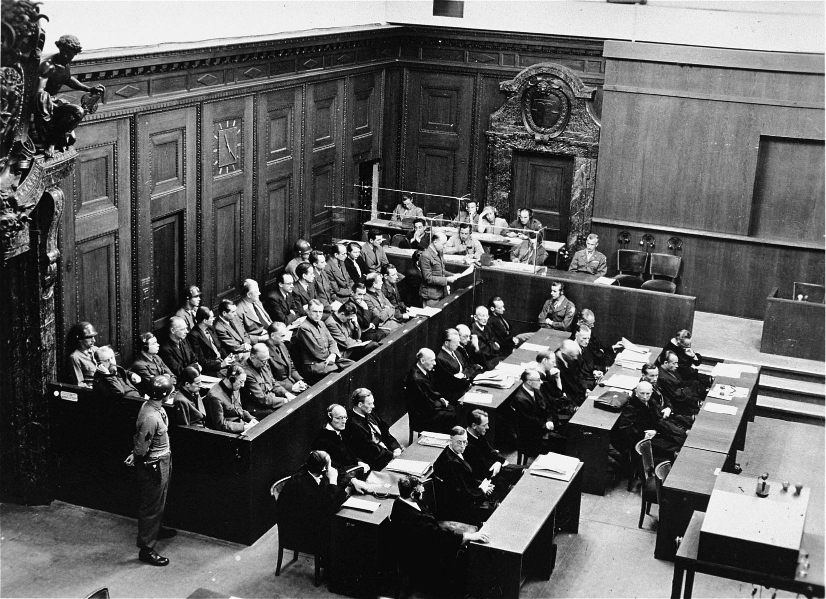 The defendants in the dock (left) and their lawyers (right) at the Doctors Trial.