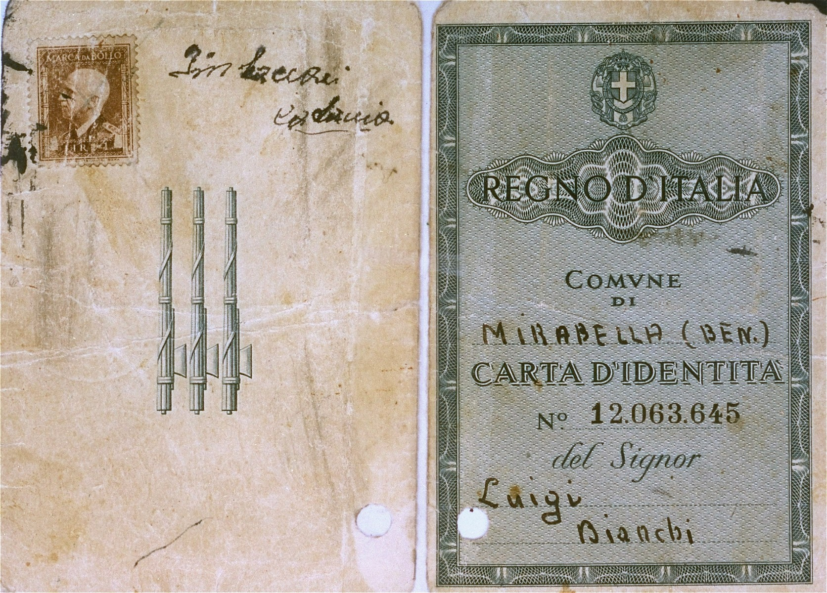 """Cover of a false identification card issued by local church authorities to the Croatian Jew, Zdenko Bergl, who was then living in """"free-confinement"""" with the Mitrani-Andreoli family in Modena, Italy, under the name of Luigi Bianchi.    The identity card, which was issued after the armistice and the German occupation of Italy, registered his place of birth as Bari, a town in the part of Italy already under Allied control.  Verification was therefore impossible.  The donor, Zdenko Bergl was born August, 1929 in St. Ivan Zabno in Croatia.  He is the son of Nandor Bergl, a businessman, and Ilonka Bergl.  Zdenko survived the war in hiding in Croatia and Italy.  In August 1941 as a twelve year old boy, Zdenko left his hometown and went into hiding in Susak, Croatia.  He remained there for six months before fleeing over the border to Modena, Italy.  He succeeded in securing false papers from the local church authorities and lived in """"free-confinement"""" with the Mitrani-Andreoli family in Modena until September 1943.  From Modena Bergl continued on to Florence where he stayed with the family of Neila Fussi until the end of the war in August 1944.  Afterwards he resided in the Cinecitta DP camp in Rome.  When he completed high school in September 1947 he moved to Lake Como, Italy.  In 1949 he succeeded in obtaining immigration papers for the U.S.  Bergl sailed aboard the U.S. Army transport vessel, Marina Jumper, from Naples to New York in November 1949."""