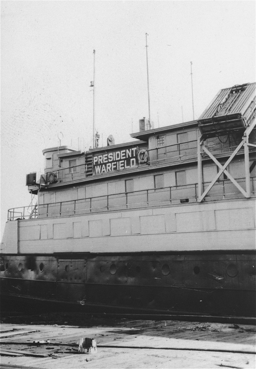 View of the SS President Warfield (later the Exodus 1947) before it was sent to Europe to ferry illegal Jewish immigrants to Palestine.