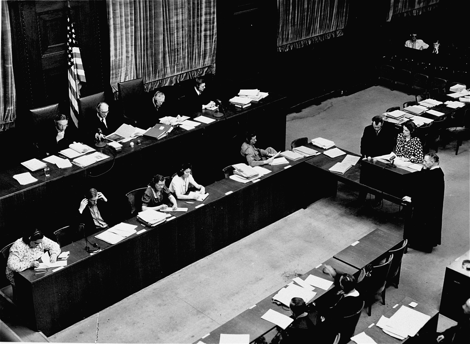 View of judges presiding during the Medical Case trial of the Military Tribunal I.