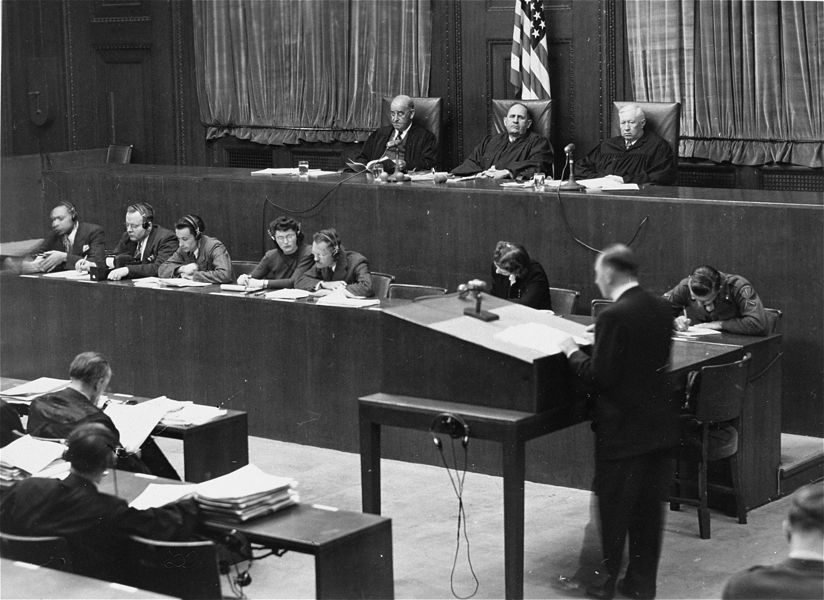 A lawyer addresses Military Tribunal I during the RuSHA Trial.