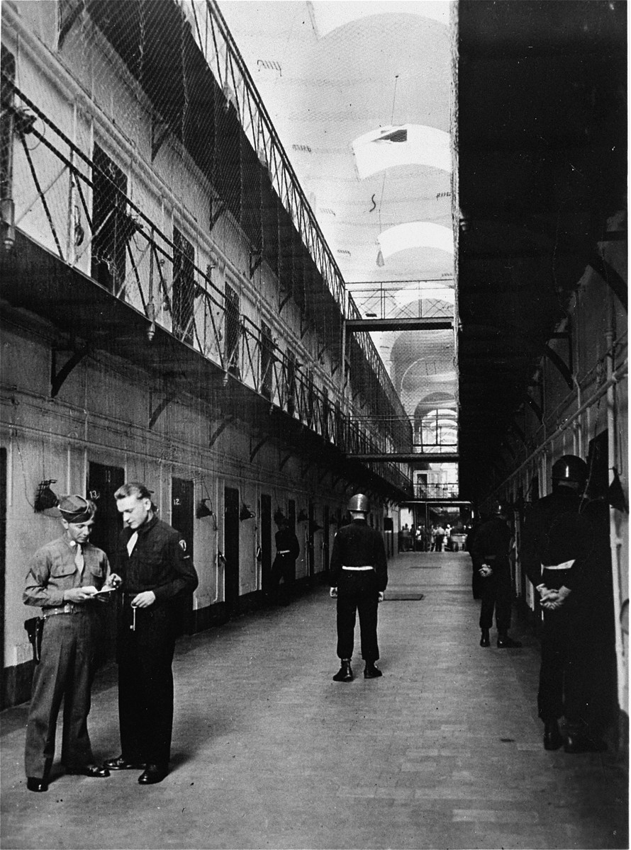 The interior of the Nuremberg prison, where the defendants were confined during the International Military Tribunal trial of war criminals.