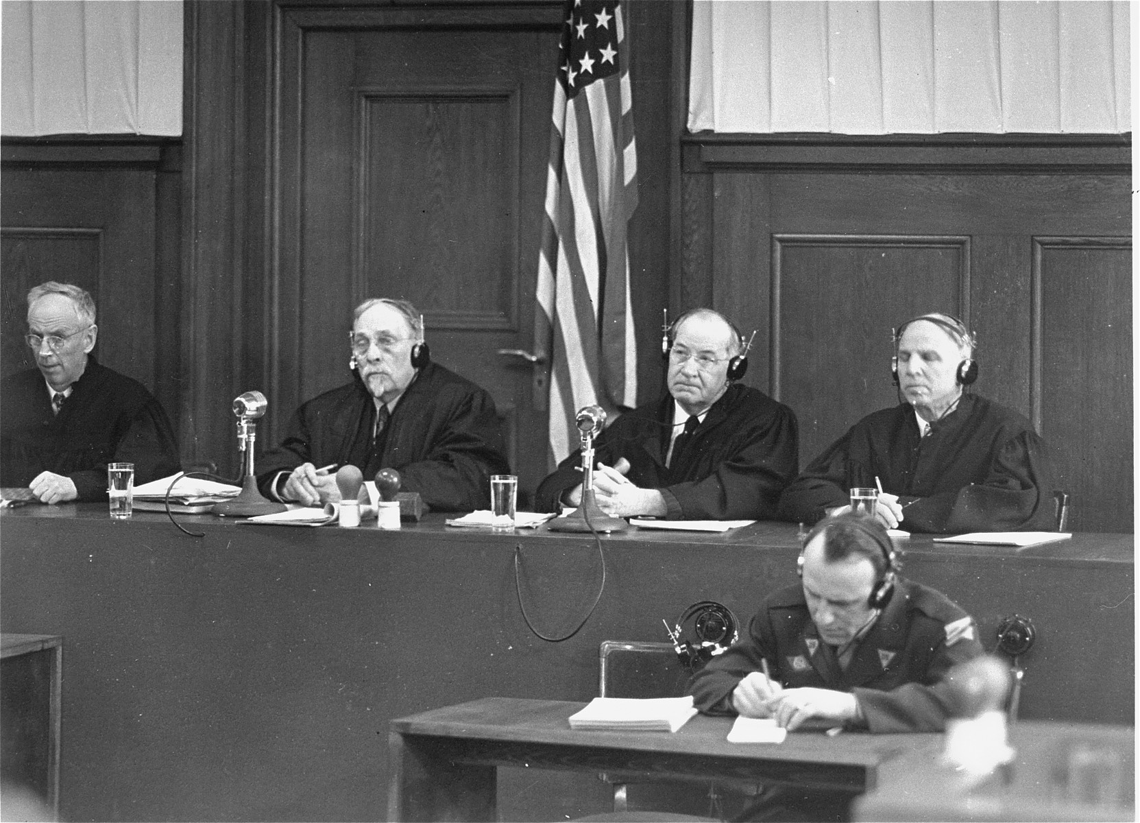 The four judges of the Military Tribunal III hearing the Justice Case.  From left to right are James T. Brand, Carrington T. Marshall, Mallory B. Blair, and Justin W. Harding.