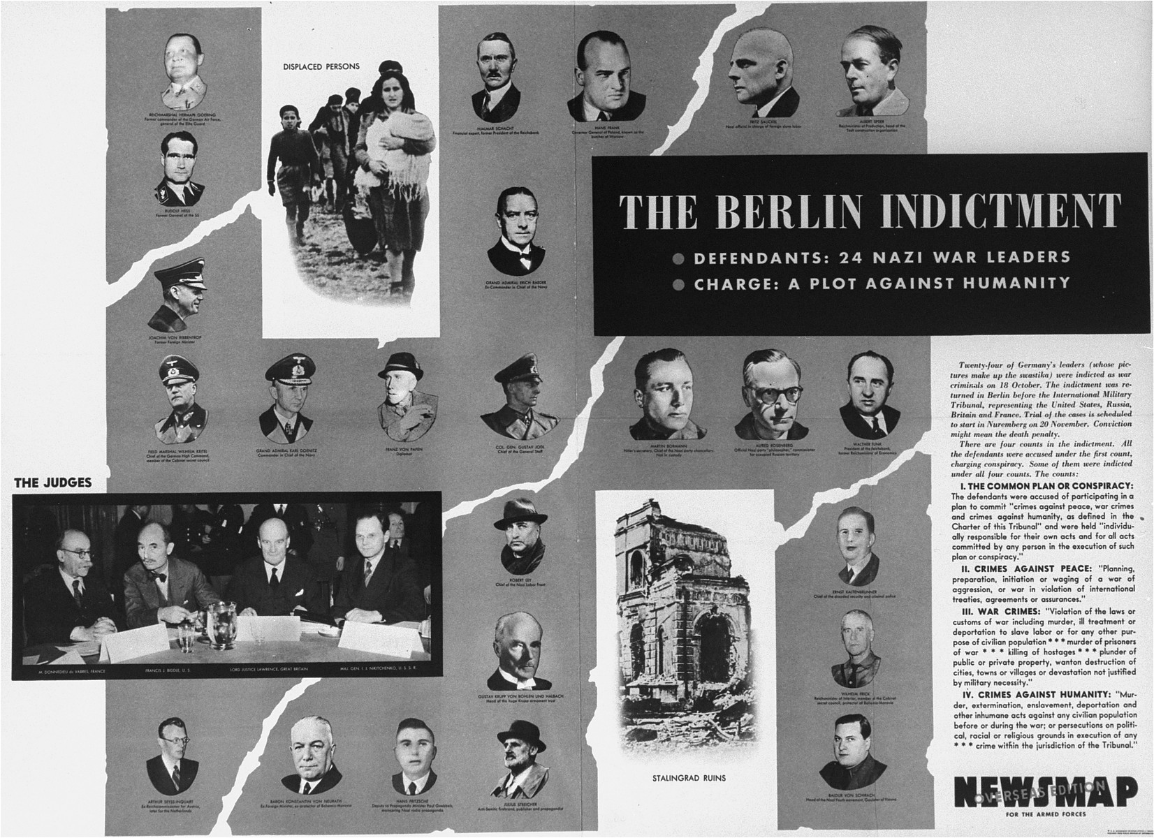 An insert for American soldiers published in Newsmap for the Armed Forces, overseas edition, explaining the indictment against the defendants in the International Military Tribunal trial of war criminals.