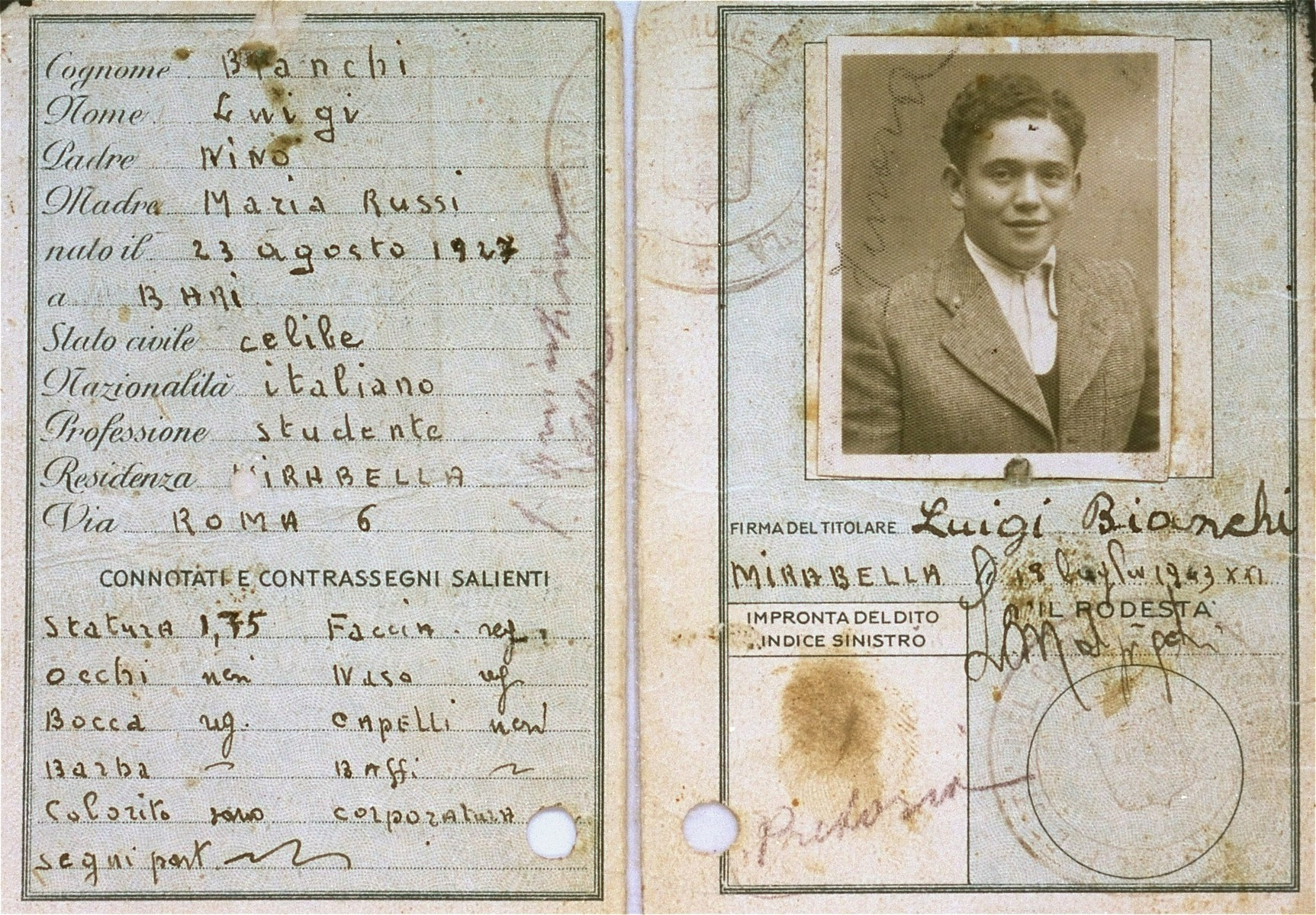 """A false identification card issued by local church authorities to the Croatian Jew, Zdenko Bergl, who was then living in """"free-confinement"""" with the Mitrani-Andreoli family in Modena, Italy, under the name of Luigi Bianchi.   The identity card, which was issued after the German occupation of Italy, registered his place of birth as Bari, a town in the part of Italy already under Allied control.  Verification was therefore impossible."""