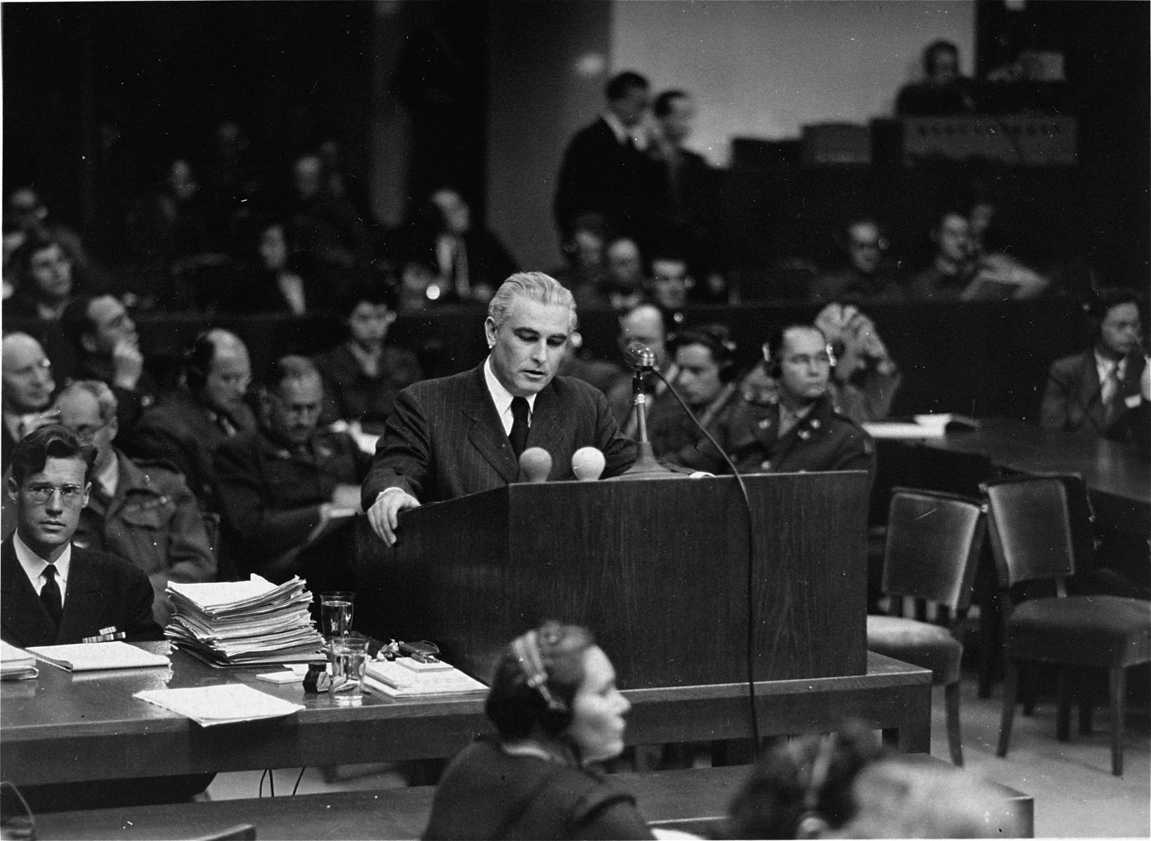 U.S. executive trial counsel Thomas J. Dodd speaks at the International Military Tribunal trial of war criminals at Nuremberg.