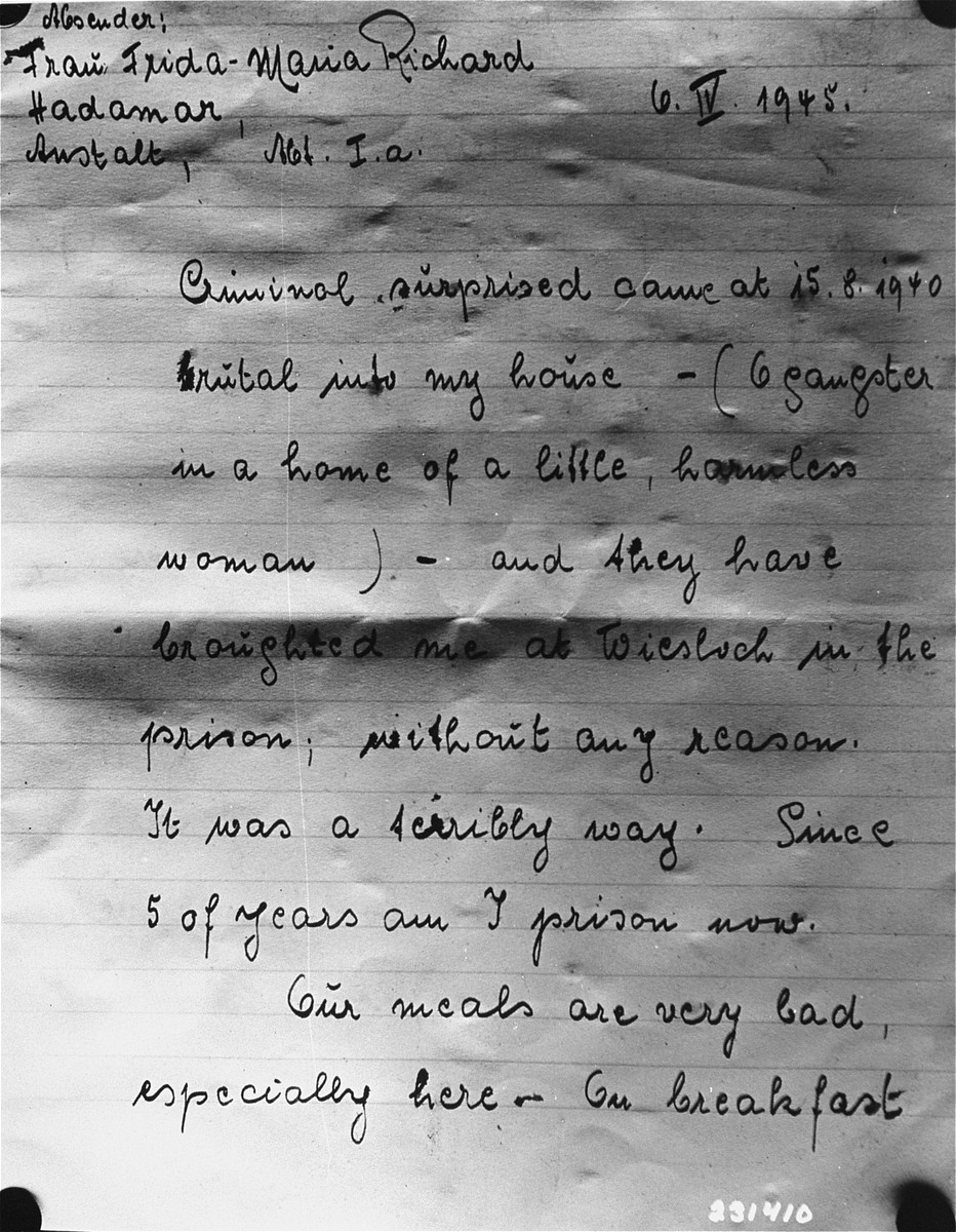 First page of a letter written by Frida Richard, a survivor of the Hadamar Institute, in which she describes her cruel treatment at the euthanasia facility.  The photograph was taken by an American military photographer soon after the liberation.