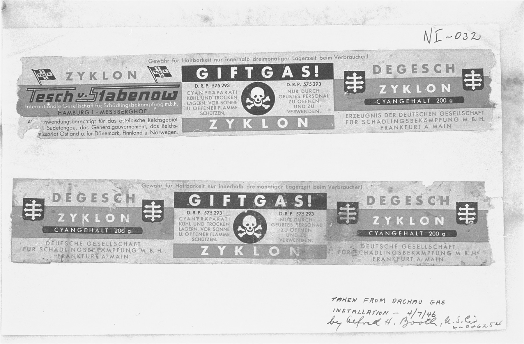"""Labels taken from canisters of Zyklon B from the Dachau Gas Installation.     The first and third panels contain the German Pest Control Company emblem and the brand name Zyklon.  The center panel reads """"Poison Gas!""""   """"Cyanide Preparation!  [skull and crossbones] to be opened and used only by trained personnel.""""  The labels were used as evidence at the International Military Tribunal trial of war criminals at Nuremberg."""