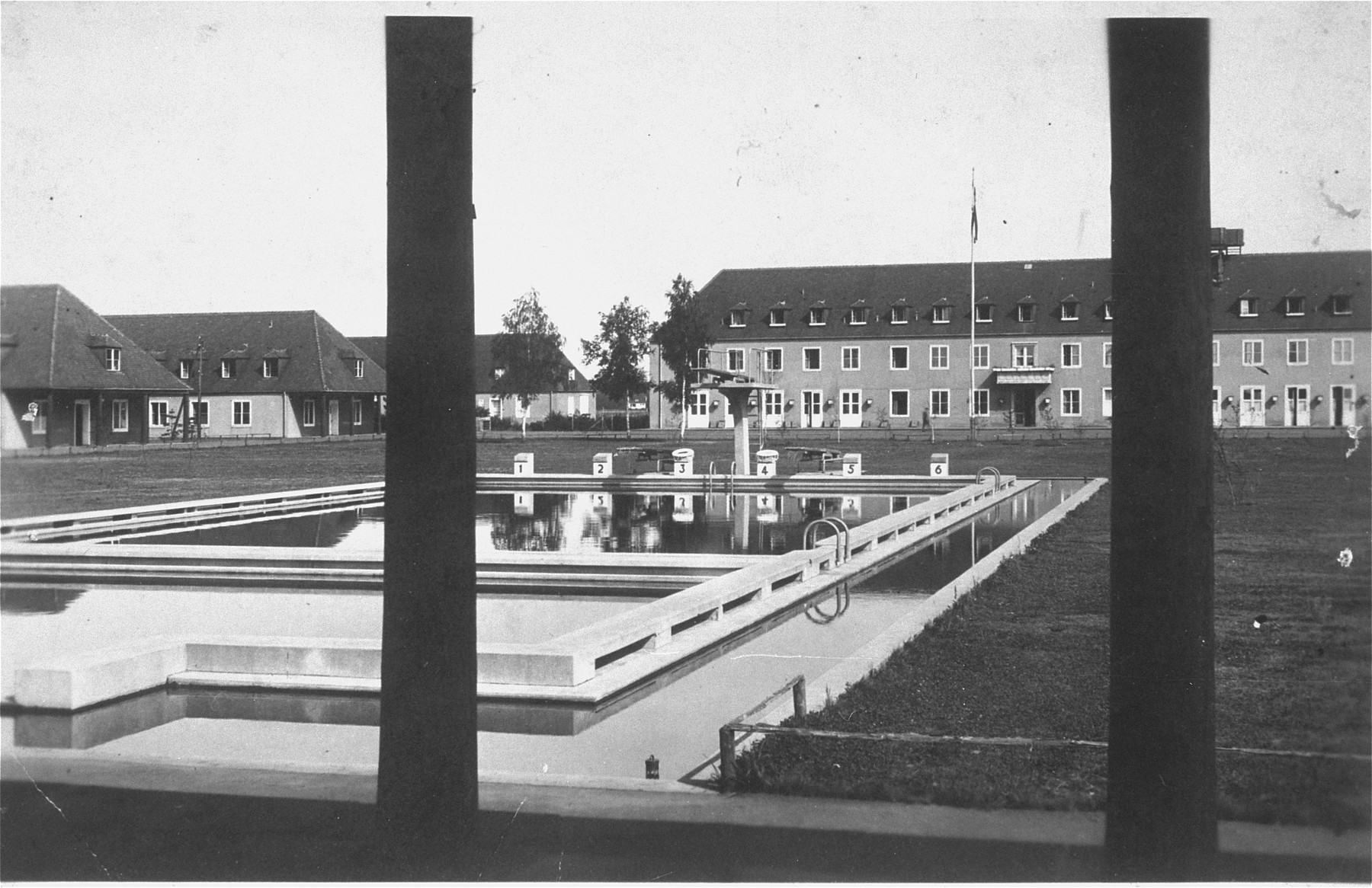 View of the pool on the grounds of the Hitler Youth school in Braunschweig, where Solly Perel was enrolled.