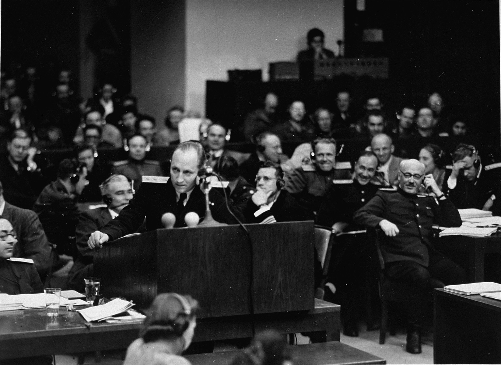 Chief Soviet prosecutor General R.A. Rudenko speaks at the International Military Tribunal trial of war criminals at Nuremberg.