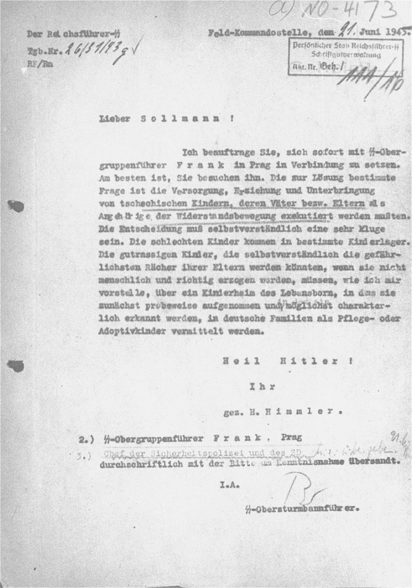 Reproduction of a letter written by Heinrich Himmler to Max Sollmann, director of the Lebensborn program.    The letter discussed options for dealing with the children of Czech resistance fighters who were executed.    The letter was introduced as evidence by the prosecution at the RuSHA Trial.