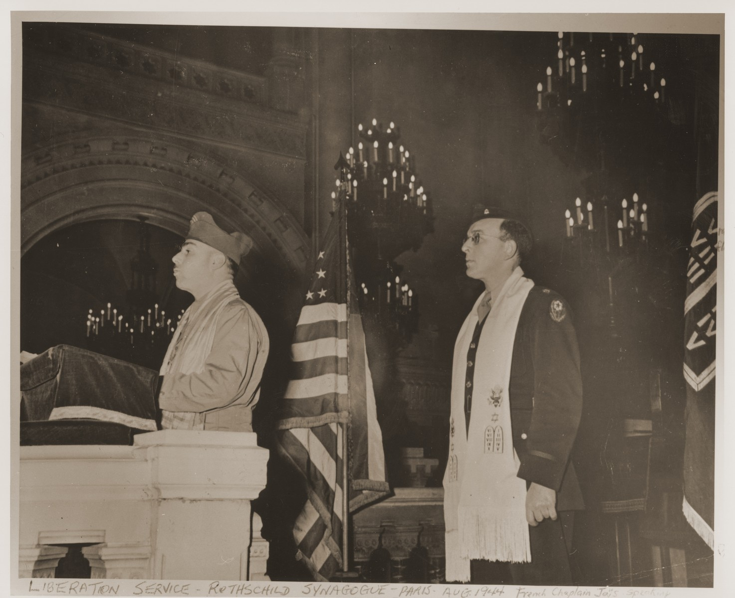 Chaplain Jais conducts a Jewish religious service at the Rothschild Synagogue in Paris soon after the liberation.