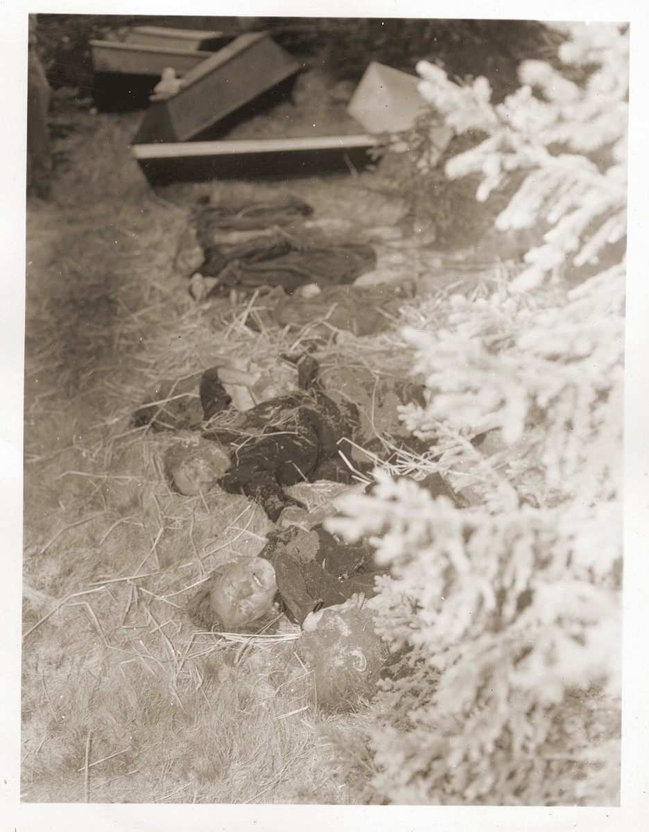 The bodies of Jewish women exhumed from a mass grave in Volary.  The victims died at the end of a death march from Helmbrechts, a sub-camp of Flossenbuerg.