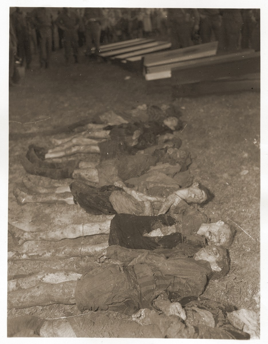The bodies of Jewish women exhumed from a mass grave near Volary.  The victims died at the end of a death march from Helmbrechts, a sub-camp of Flossenbuerg.