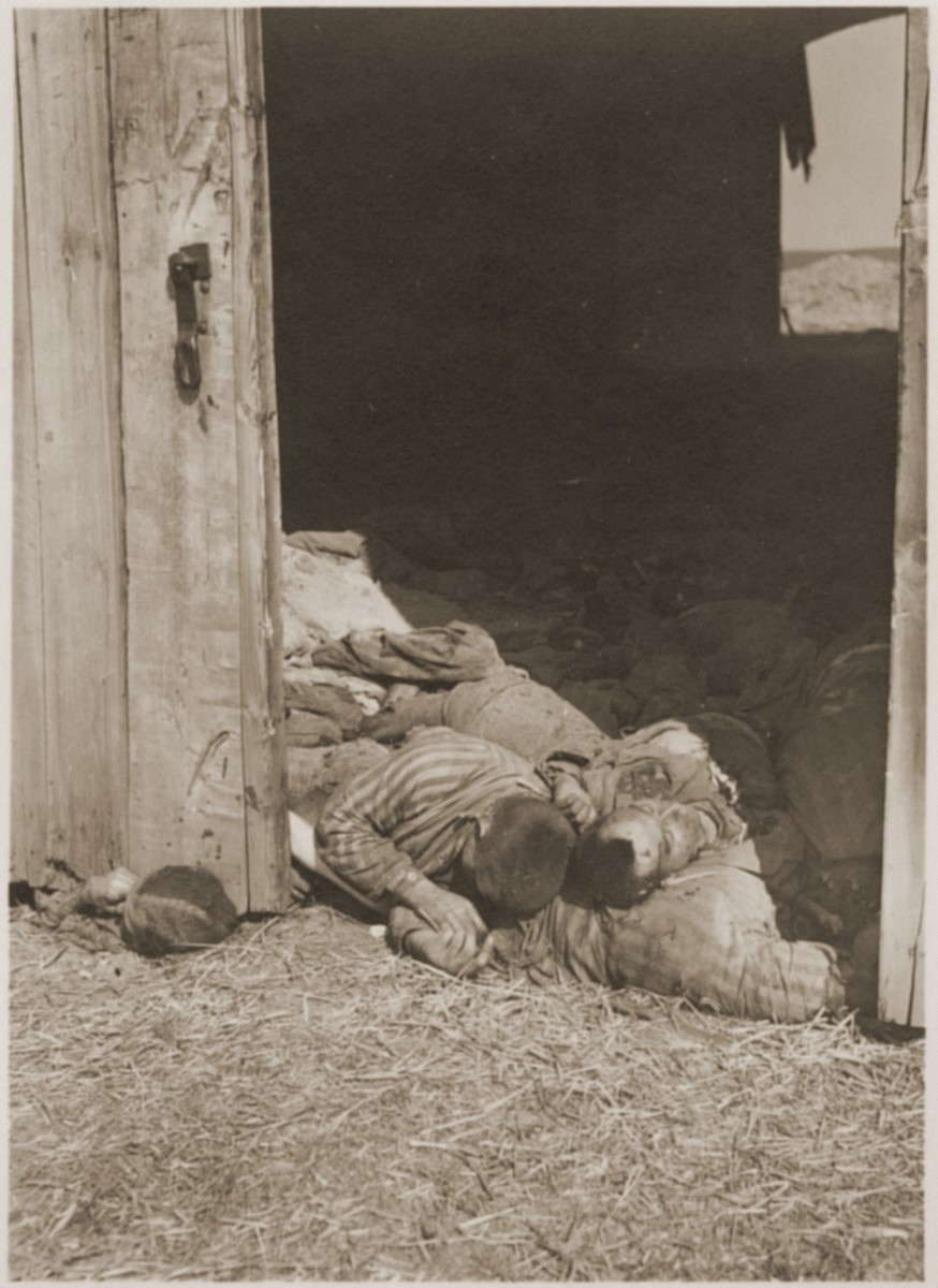 Prisoners' bodies block the door of the barn outside Gardelegen, where they were shot while trying to escape the flaming interior, which had been set alight by the SS.