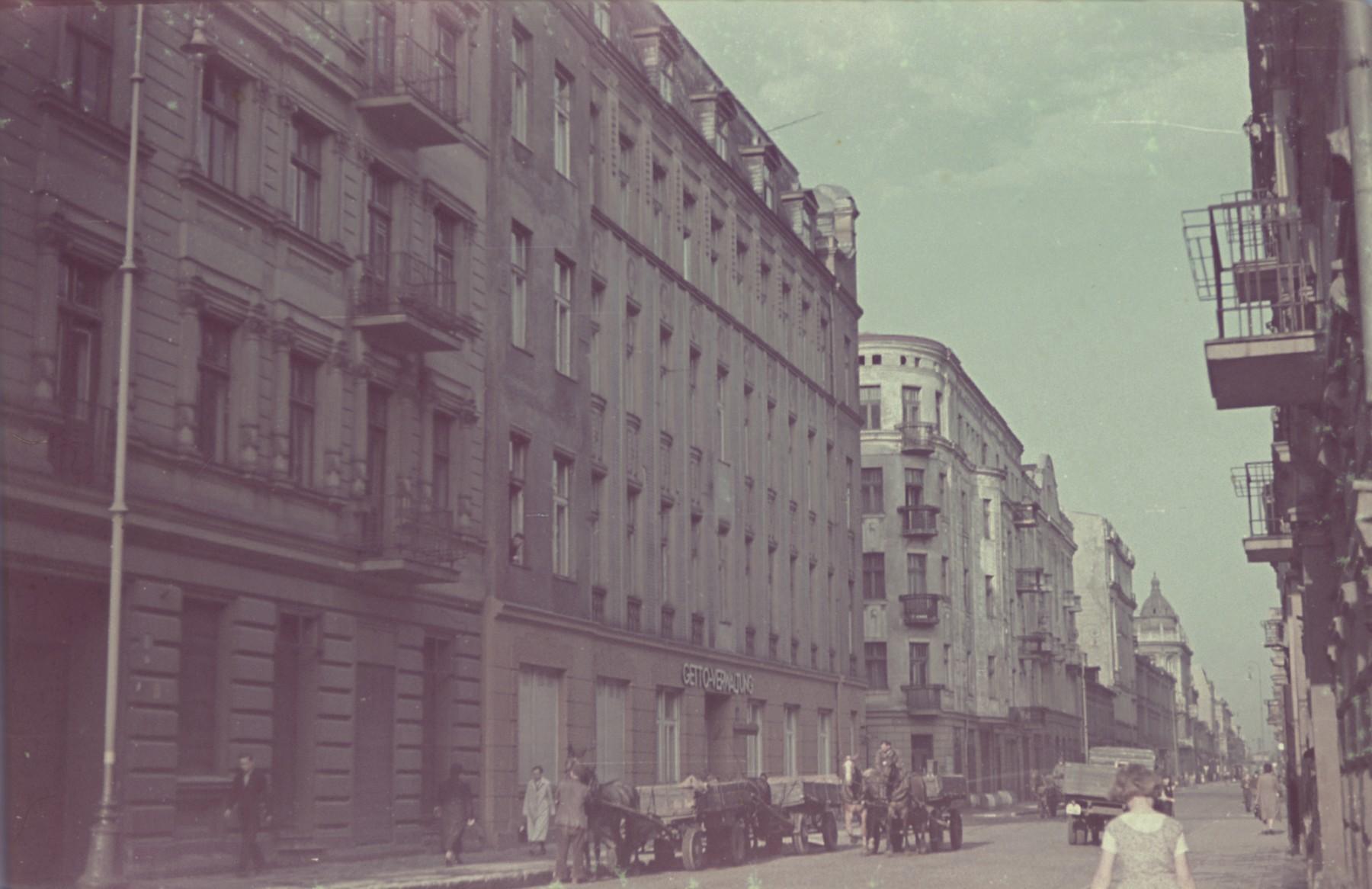 "A street scene in Lodz.  Original German caption: ""Litzmannstadt, Moltkestrasse"" (Moltke Street), #177."