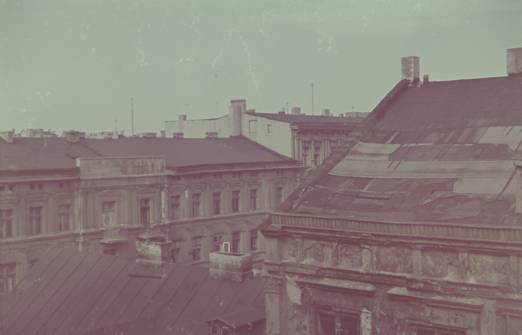 A view of rooftops in or near the Lodz ghetto.