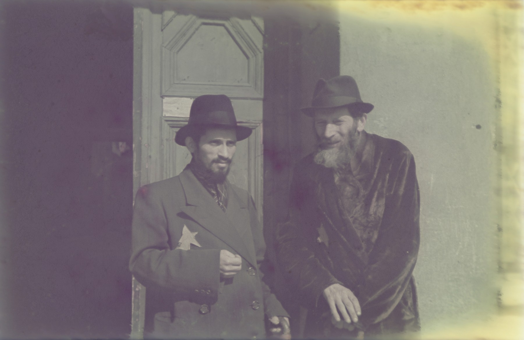 Portrait of two bearded Jewish men in the Lodz ghetto.