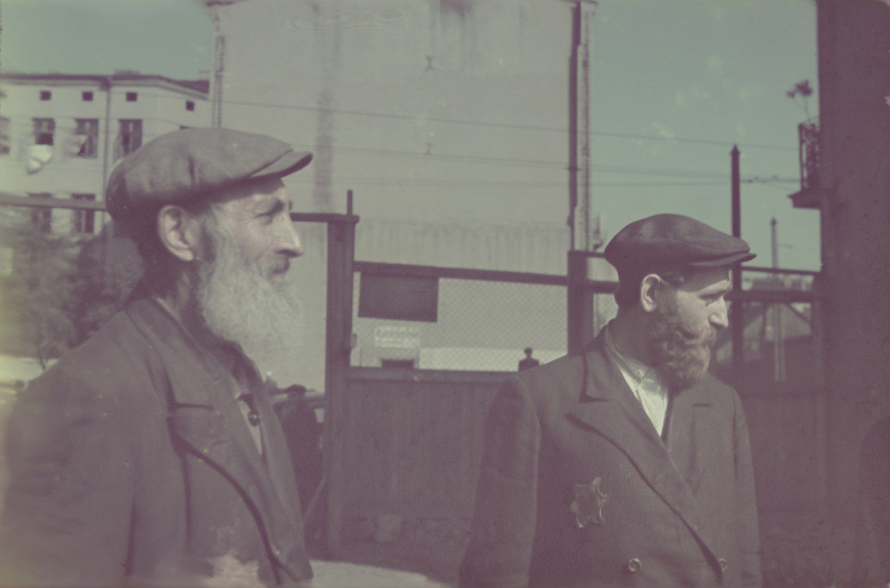 Close-up portrait of two bearded men in the Lodz ghetto.
