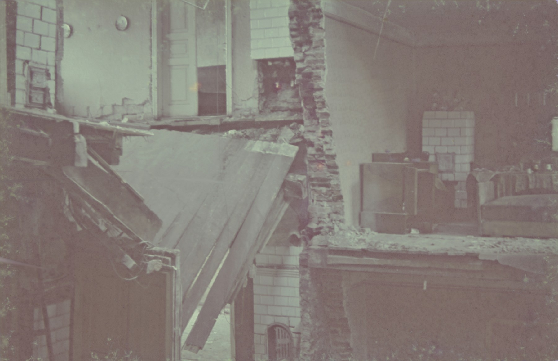 View of a destroyed building probably in the Lodz ghetto.