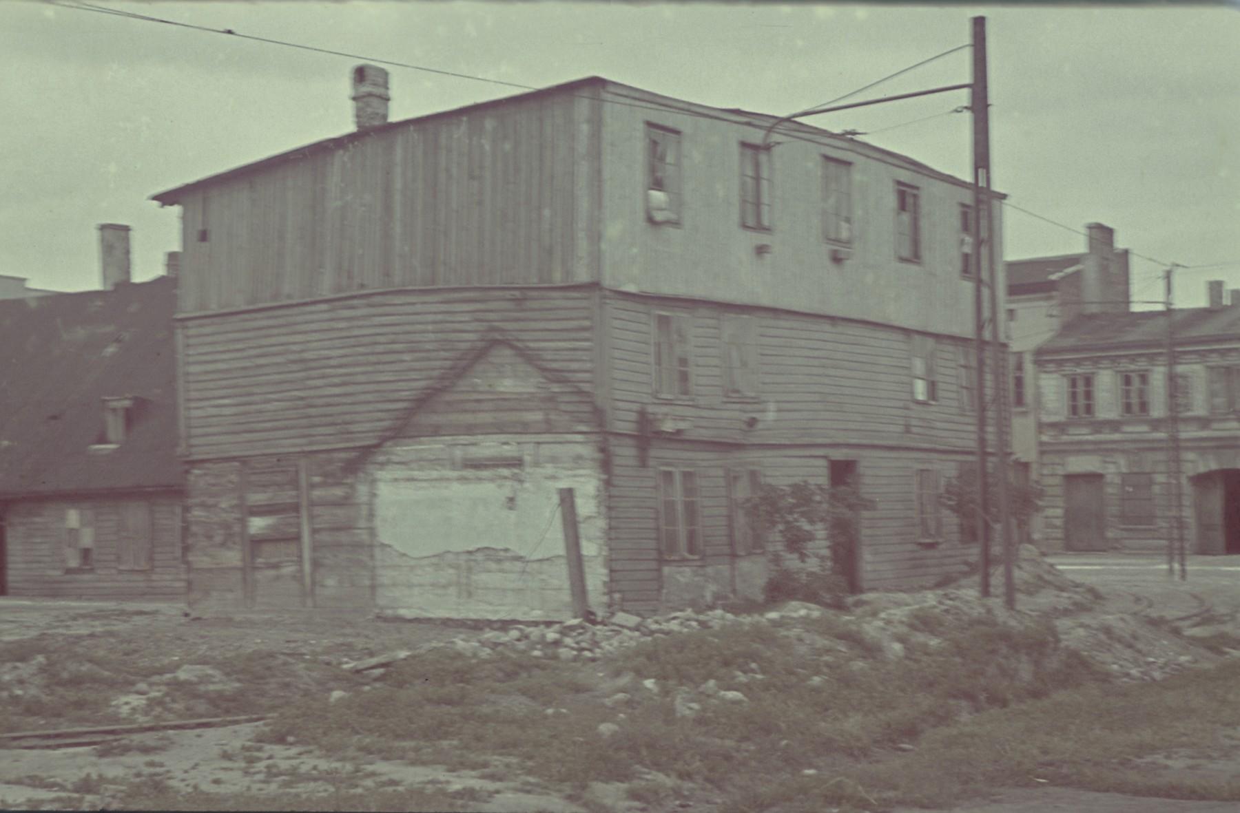 """A street scene in the Lodz ghetto.  Original German caption: """"Litzmannstadt Getto"""", 142, #157."""