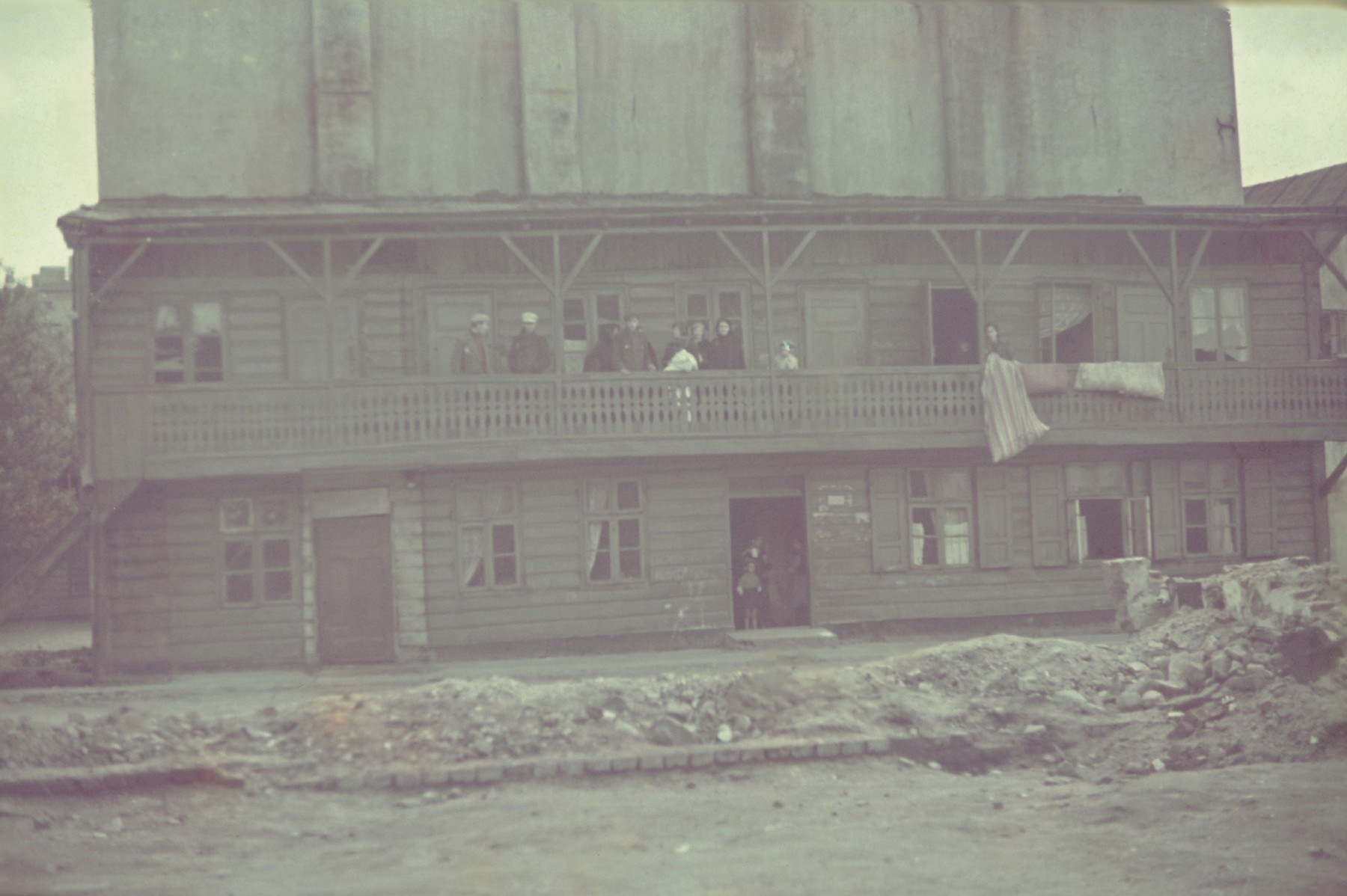 View of a wooden building in the Lodz ghetto.
