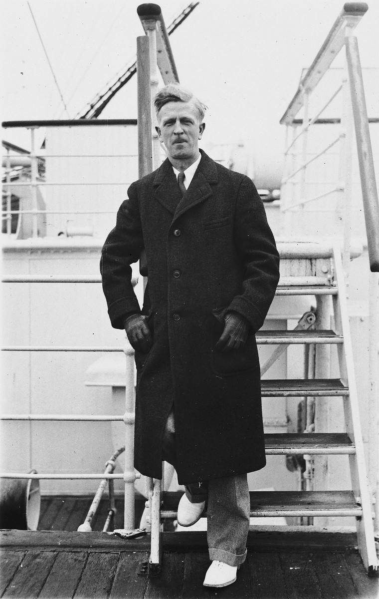 James G. McDonald poses on the deck of the SS Paris on his way to Geneva to take over his new duties as League of Nations High Commissioner for German Refugees from Germany.
