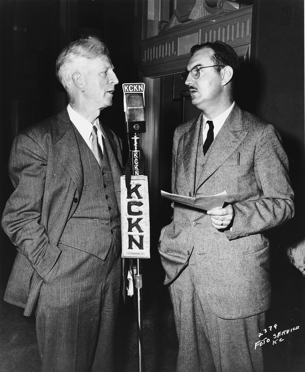 U.S. Ambassador to Israel, James G. McDonald (left), is interviewed on KCKN (Kansas City, Kansas) radio.