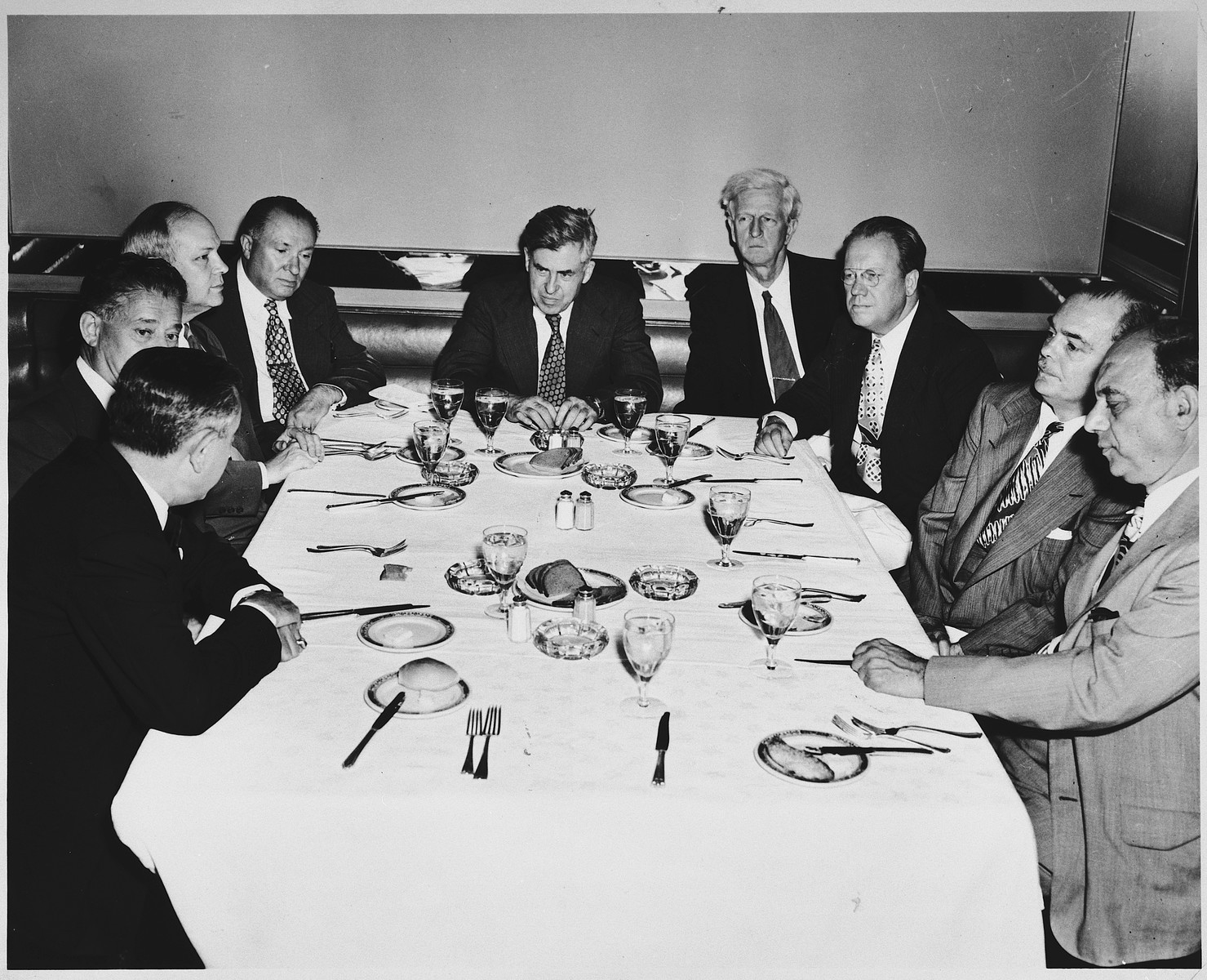 James G. McDonald attends an unidentified dinner meeting in New York City.