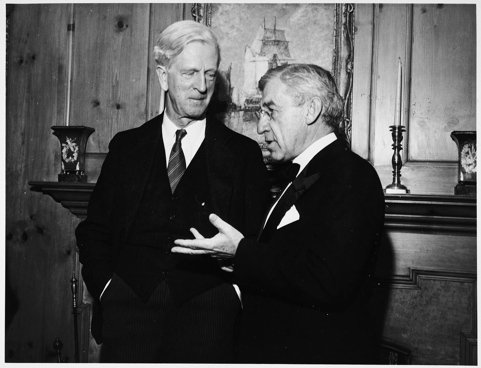 James G. McDonald, a member of the Anglo-American Committee of Inquiry on Palestine, converses with a New York State senator.