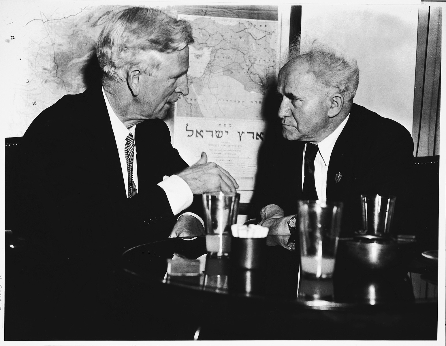 U.S. Special Representative to Israel, James McDonald, in a private meeting with Israeli Prime Minister, David Ben-Gurion after presenting his credentials.