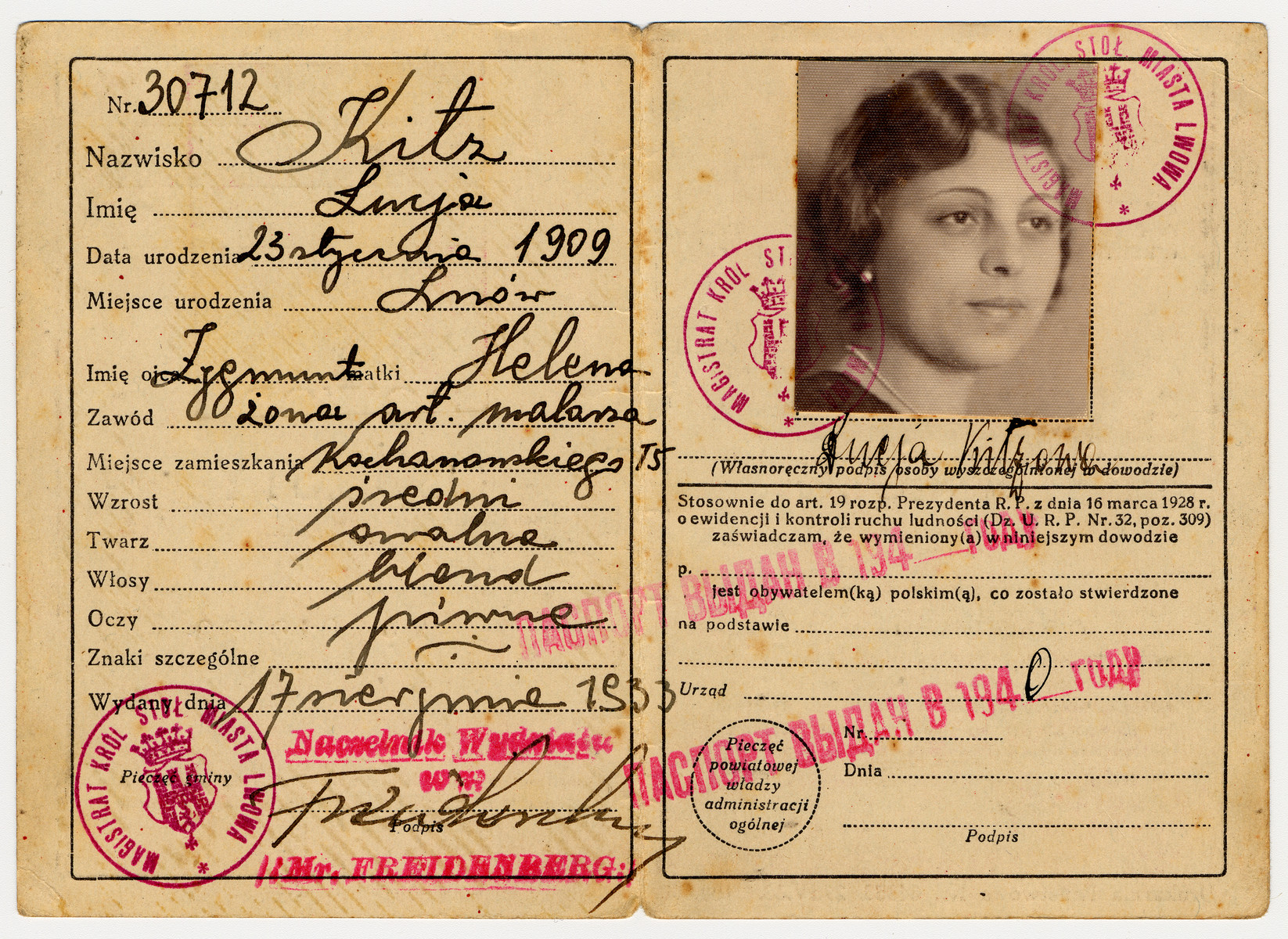 Identification issued to Lucie Kritz in 1933 and restamped by the Soviet government in 1940.