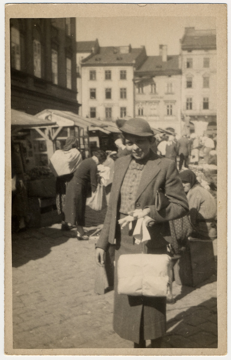 Close-up portrait of a Jewish woman shopping in an open-air market in prewar Lvov.  Pictured is Lucie Lind.