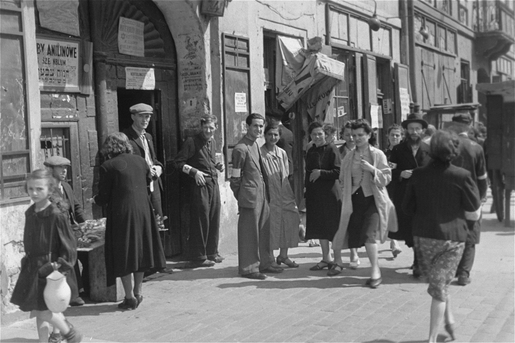Jews on the street in the Warsaw ghetto.