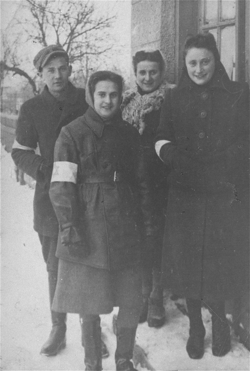 Group portrait of Jewish youth in the Warsaw ghetto. On the right is Toba Galek, sister of the donor.