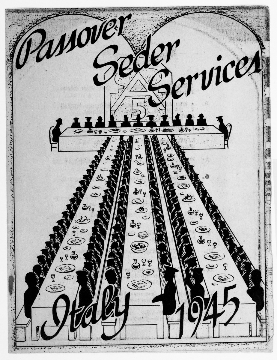 Cover of the Passover Seder Services brochure issued in March 1945 for American troops from the U.S. Fifth Army.  The seder took place at the main railroad station in Florence, Italy.