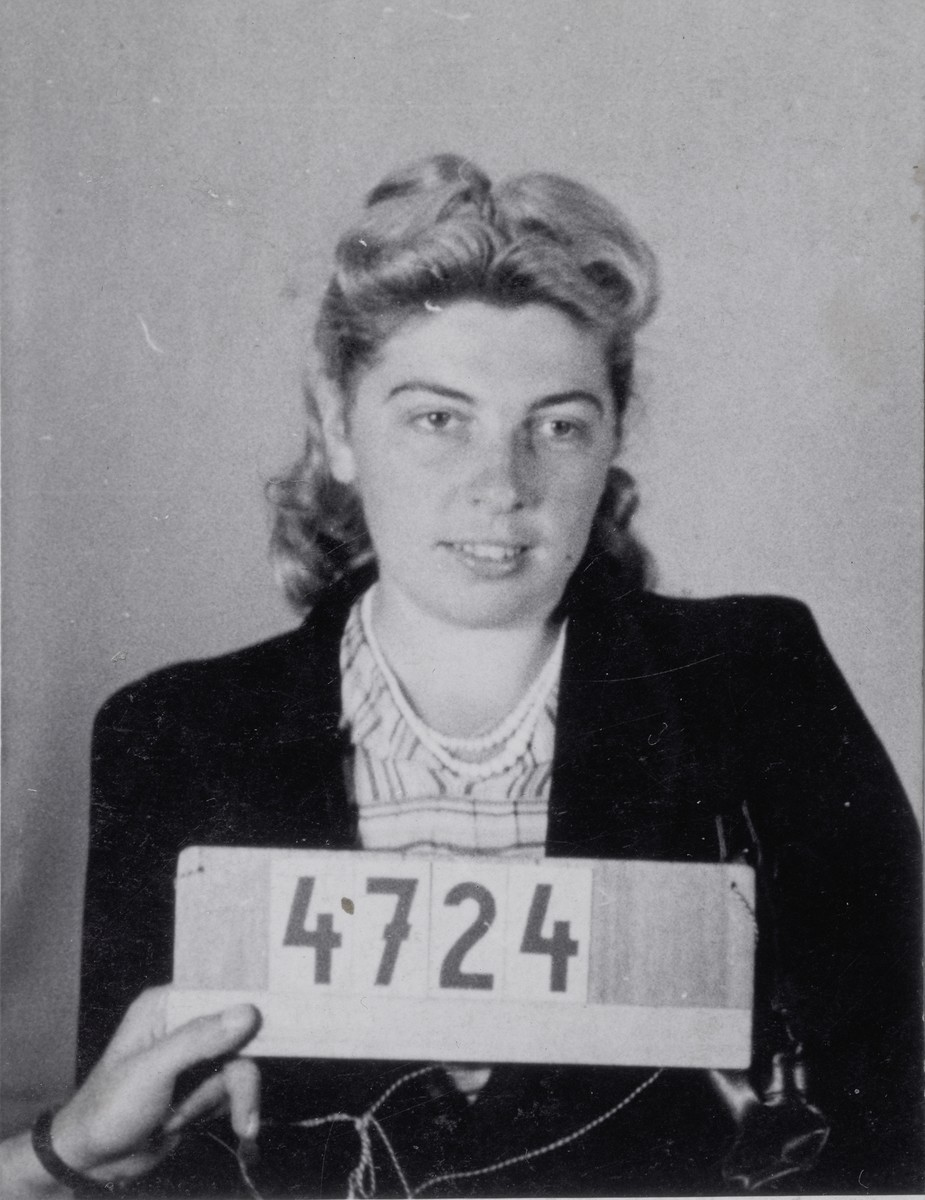 Mug shot of Leonora Leska (Lila Lam), taken upon her arrival at the Mauthausen concentration camp.