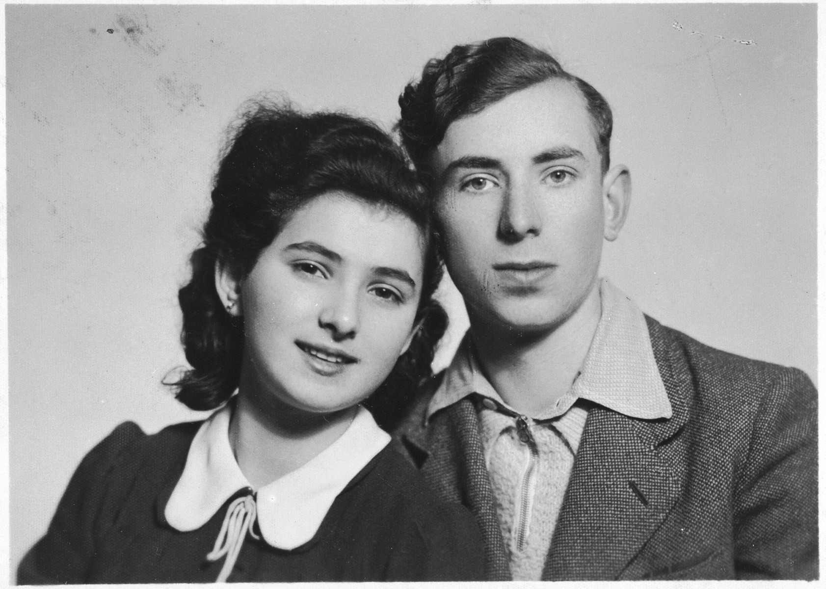 Close-up portrait of Zigi and Erma Zimmerstark (cousins of the donor) taken in the Krakow ghetto and sent to a relative in the United States.