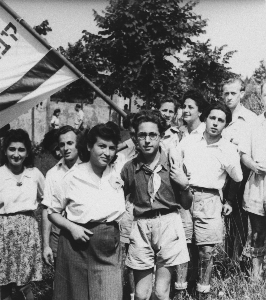 Akiva Kohane and a group of friends pose with a Zionist flag during a sports day in Tradate Italy.