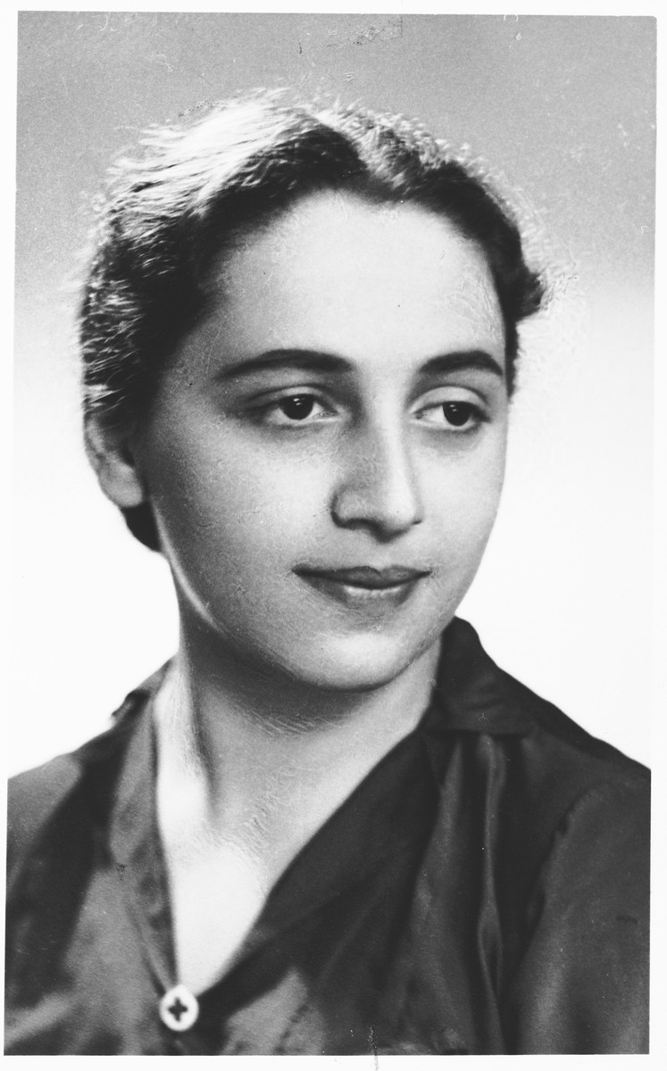 Studio portrait of Rushka Pomerancz taken in the Warsaw ghetto only a year or two before she died of typhus.