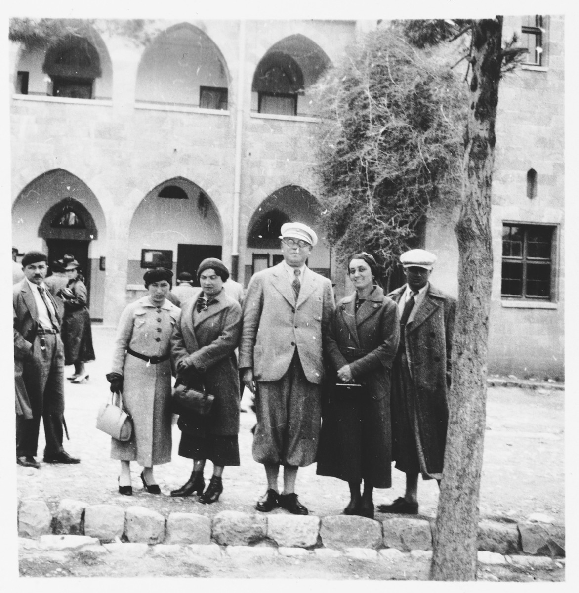 A group of Jews from Osijek, Croatia visit Palestine during the 1935 Maccabi games.  Among those pictured is Ilonka Spitzer (second from the right).