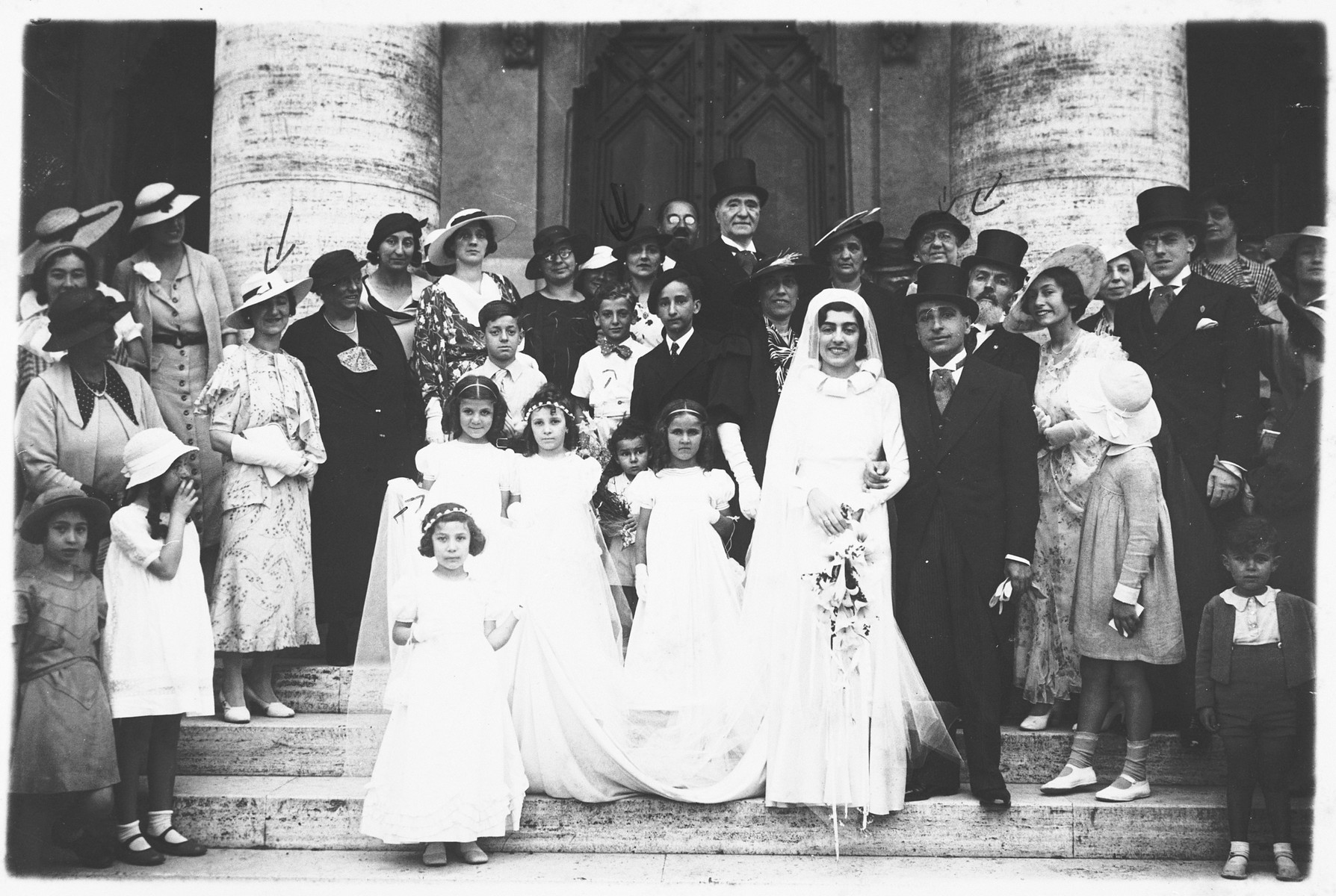 Wedding of Silva Bachi, a cousin of Paola Sereni Foa.  Serenella Foa is one of the bridesmaids.  Her mother and grandmother are also pictured.