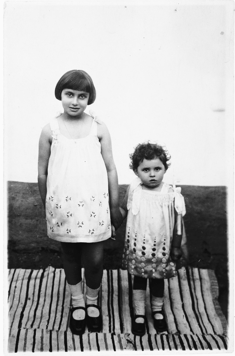 Portrait of two Jewish children in Bilki, Czechoslovakia.  Pictured are three-year-old Magdalena Mermelstein with her seven-year-old cousin, Ava Zocher.