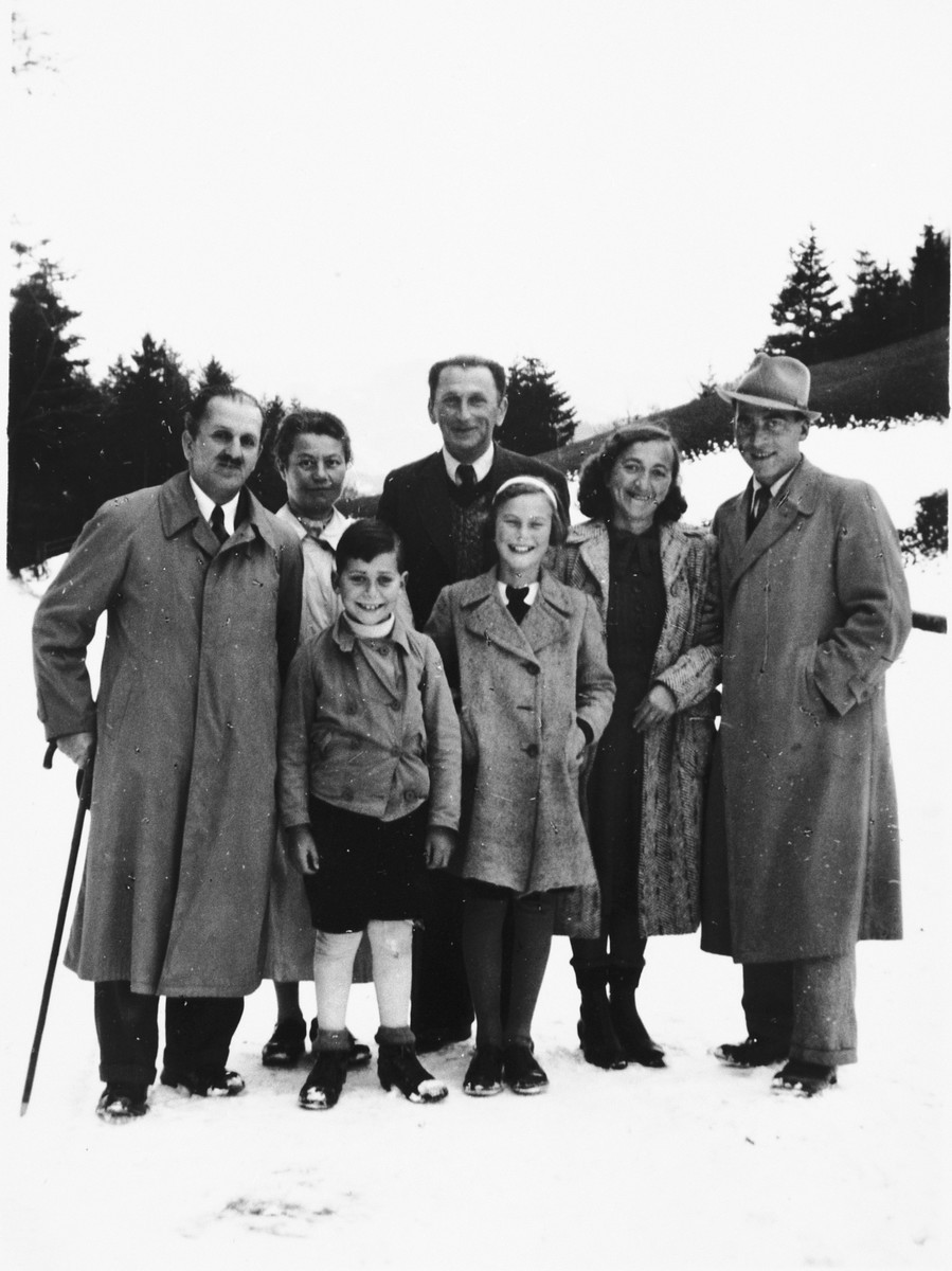 Group portrait of the extended Lewitzky family who crossed together into Switzerland.  Pictured are Sigmund, Jetti, Inge and Gerhard Lewitzky as well as Sigmund's sister Malvine Schacht, her husband Hugo and his brother Siegfried.