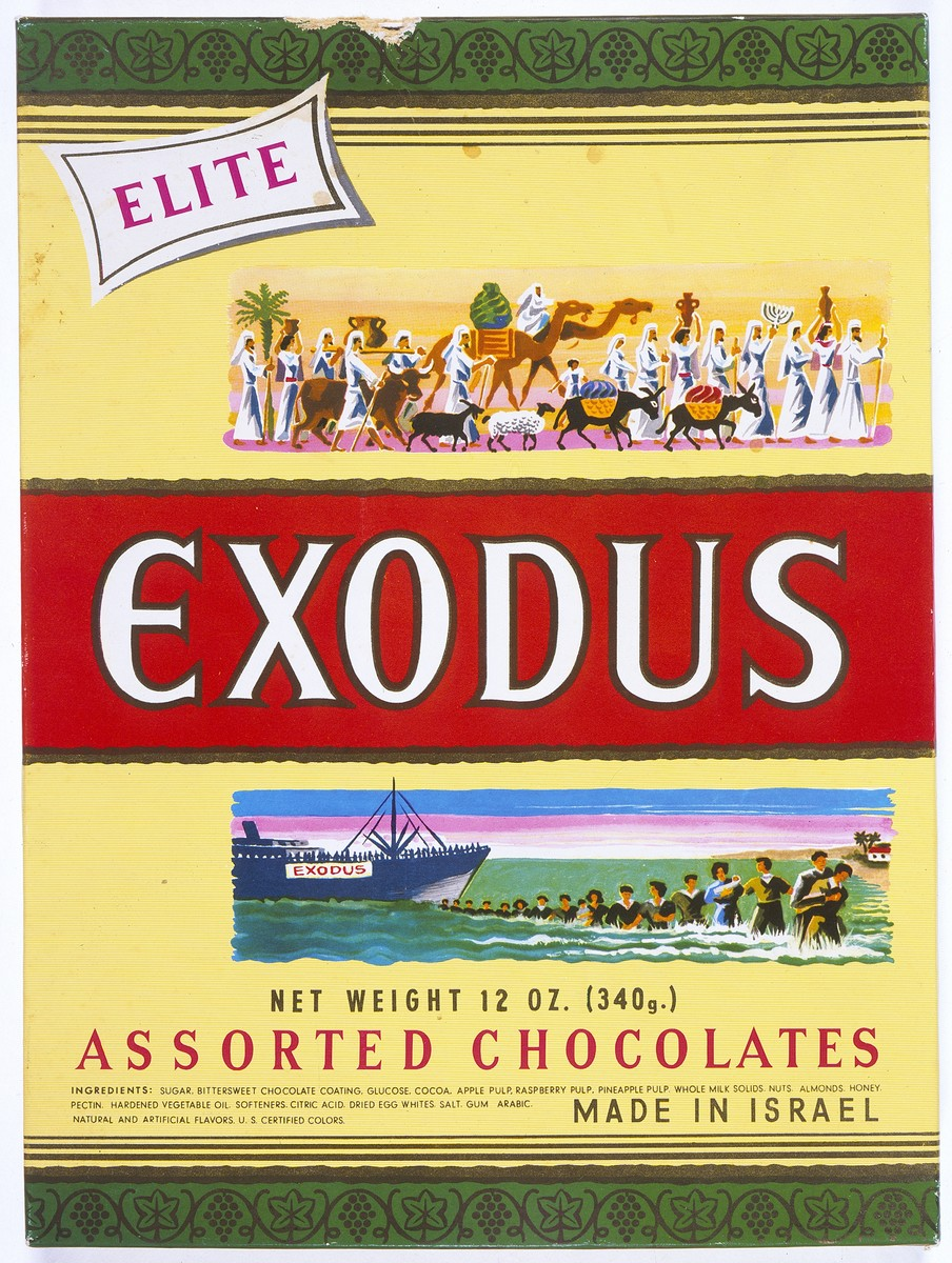 Top of an Elite Company box of chocolates produced in Israel, that was issued on the fifth anniversary of the voyage of the Exodus 1947.  The initial issue of the special box of chocolates was presented to members of the Exodus crew (perhaps at their first reunion).  John Stanley Grauel kept his box on his desk, using it as a letter box.