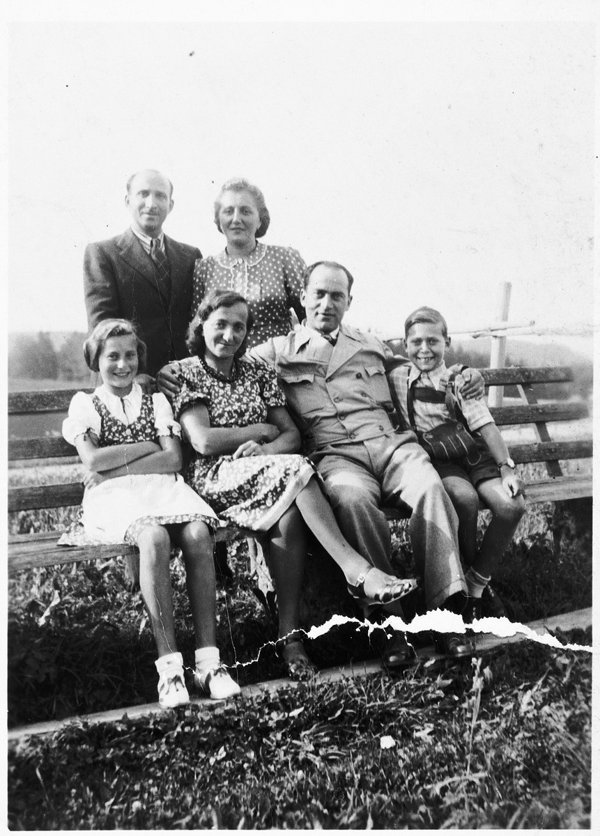 Family photo of the Lewitzky and Goldstein families.  Jetti's sister Mali Goldstein and brother-in-law Max (back) had immigrated to Switzerland in 1936, and the Lewitzkys (front) followed two years later at their urging.