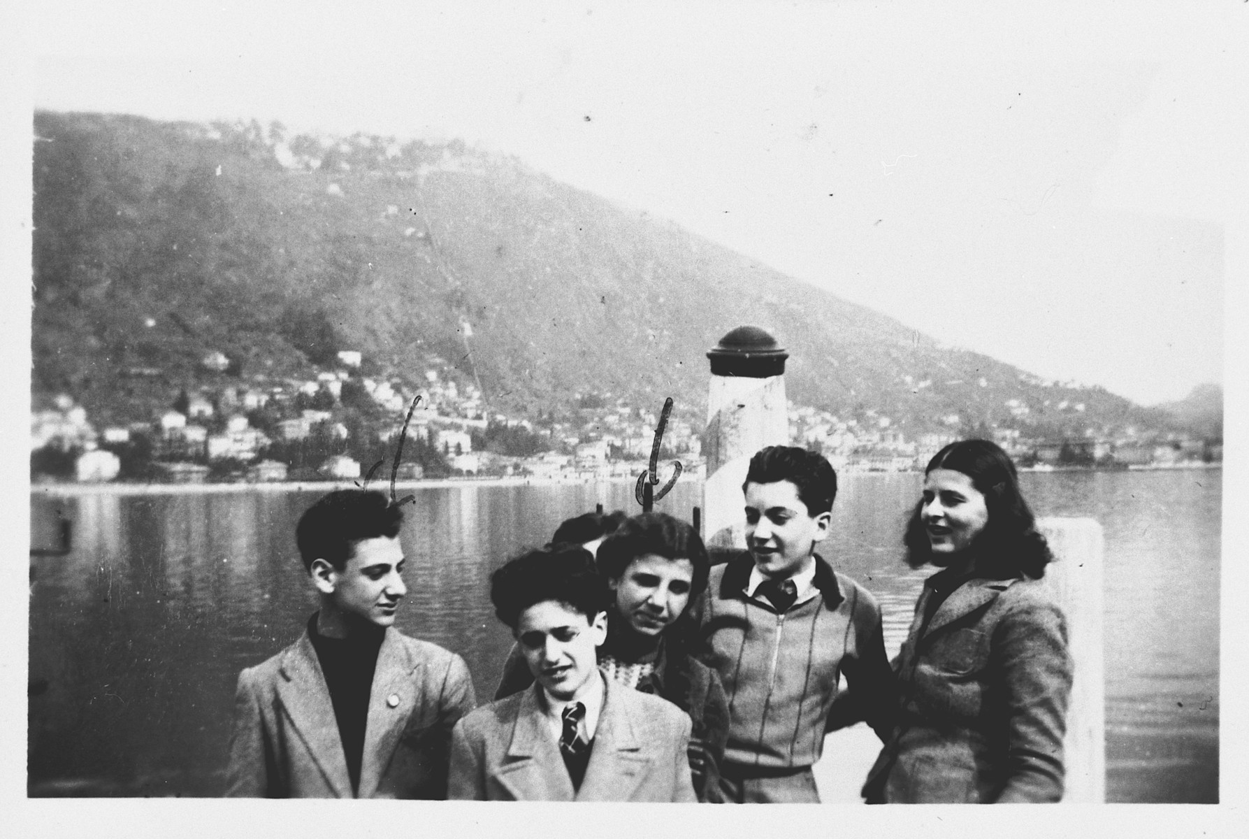 Jewish students go for a boat ride in the lake district in northern Italy.  Those pictured include Serenella Foa and Riccarda Ruberls.