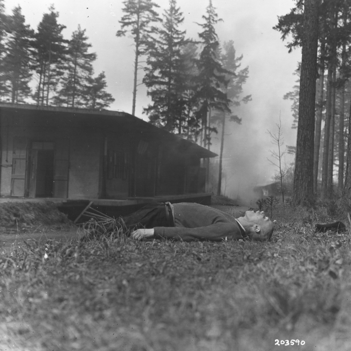 The corpse of a Polish Jew who was shot by the retreating Germans as the U.S. Third Army advanced on Ohrdruf.
