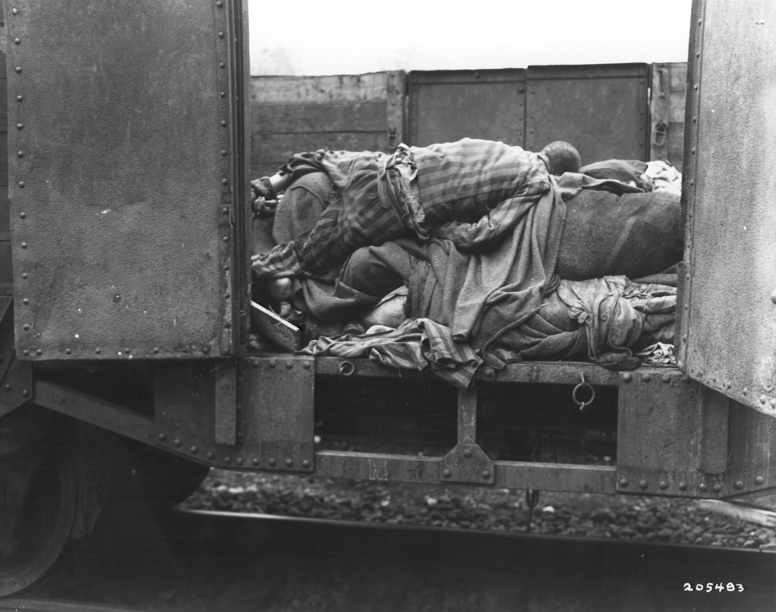 """A railroad car containing the bodies of prisoners who died while on an evacuation transport presumably headed for Dachau concentration camp.  The original caption reads """"These political prisoners were piled into railroad cars after they had been slaughtered by SS troops, who fired into the cars as they sat on a platform at the station."""""""